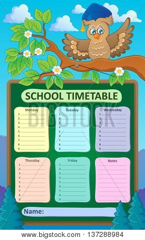 Weekly school timetable topic 1 - eps10 vector illustration.