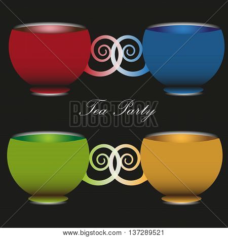 Vector illustration of a tea party time A set of four colorful cups with handles sculpted tea party time image on a black background