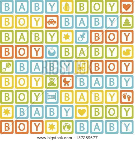 seamless pattern with  blocks baby boy - vector illustration, eps