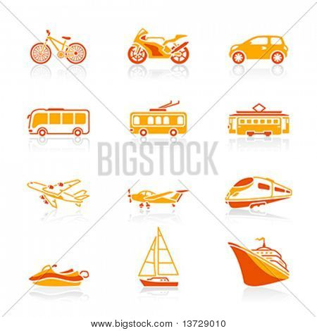 Modern and vintage vehicles icon-set in red-orange