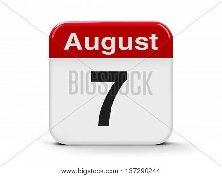 Calendar web button - The Seventh of August three-dimensional rendering 3D illustration