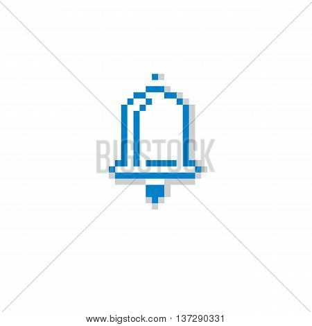 Vector pixel icon isolated 8bit graphic element. Simplistic ringing hand bell sign.