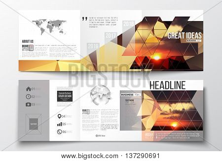 Vector set of tri-fold brochures, square design templates with element of world map and globe. Colorful polygonal backdrop, blurred natural background, amazing summer sunset view, triangular texture