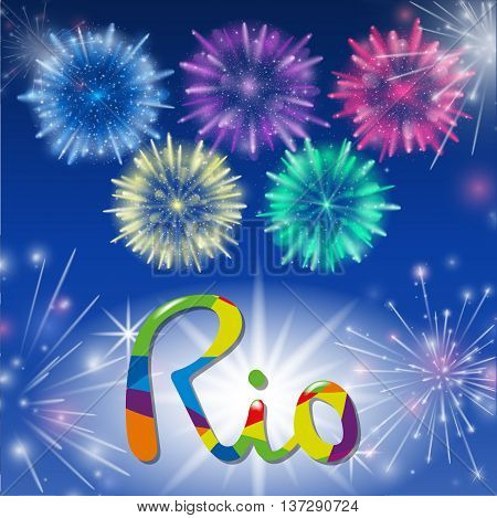 Vector Illustration of Fireworks. Realistic colored firecrackers on a black background. Lettering Rio.