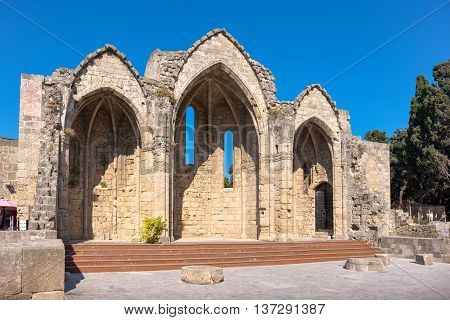 The church of Our Lady of the Burgh in the medieval town of Rhodes dates back to the 14th century. Rhodes Greece