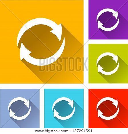 illustration of rotating arrows flat icons set
