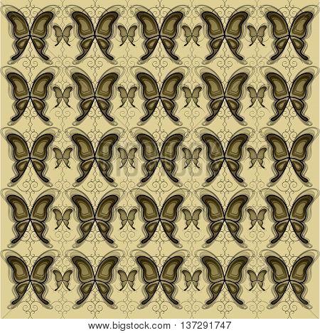 vintage vector pattern with butterflies over swirl decration
