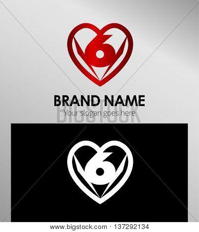 Vector sign spherical number 6 logo template design vector