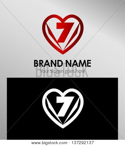 Vector sign spherical number 7 template design vector