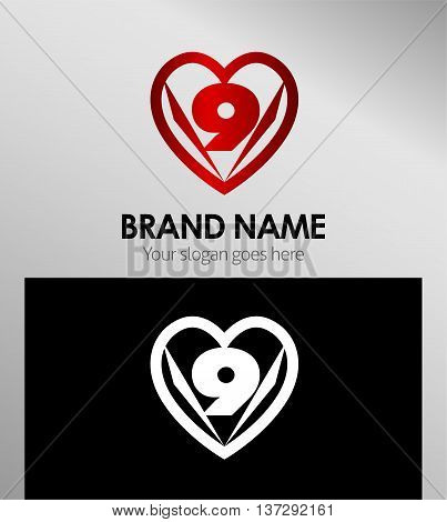 Vector sign spherical number 9 template design vector