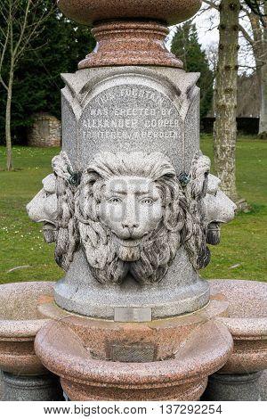 Lions head fountain in Hazlehead Park Aberdeen Scotland