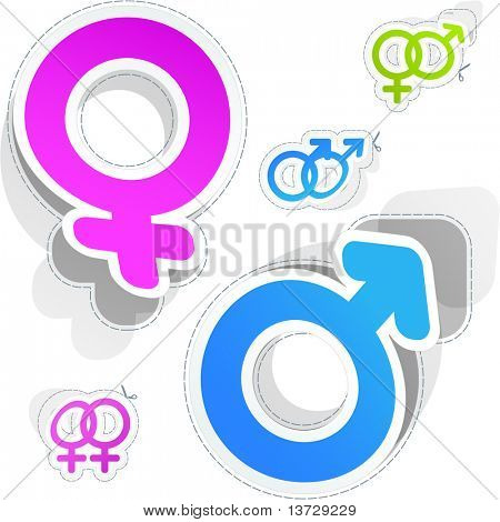 Male and female symbols. Vector sticker set.
