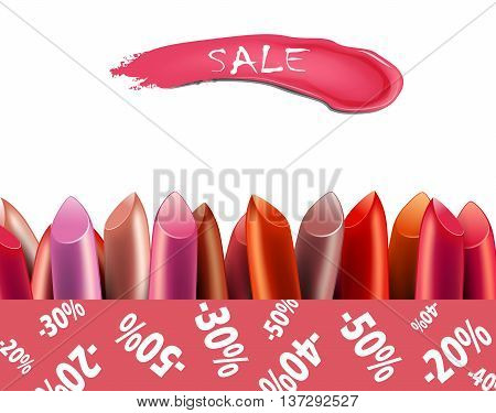 Set of colorful lipsticks on white background. Sale poster.