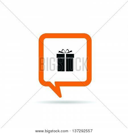 Square Orange Speech Bubble With Gift Box Icon Illustration