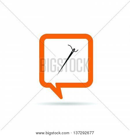 Square Orange Speech Bubble With Needle Icon Illustration