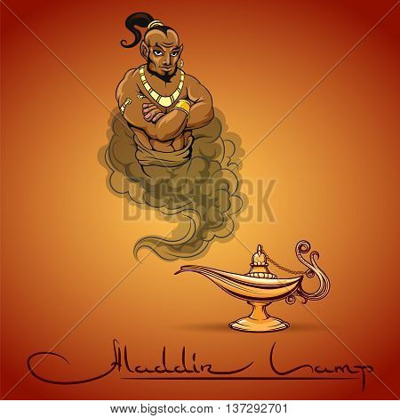Oriental tale illustration of genie aladdin lamp and text. Vector icon