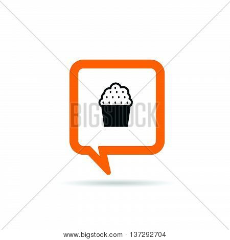 Square Orange Speech Bubble With Pop Corn Icon Illustration