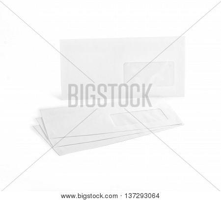 White envelopes with address window on white background