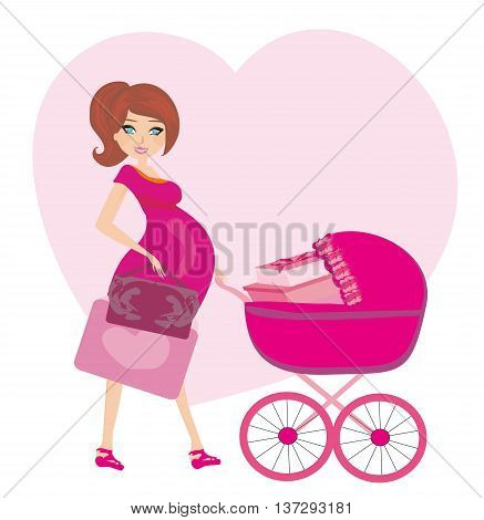 pregnant woman with a pink baby carrier full of presents ,vector illustration