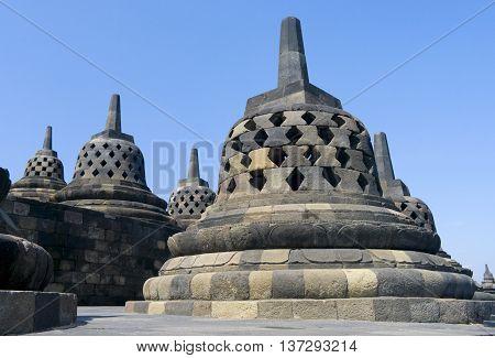 Buddhist temple Borobudur in Yogyakarta. Java Indonesia