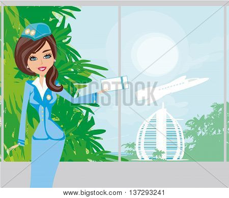 Beautiful stewardess with ticket on airport ,vector illustration