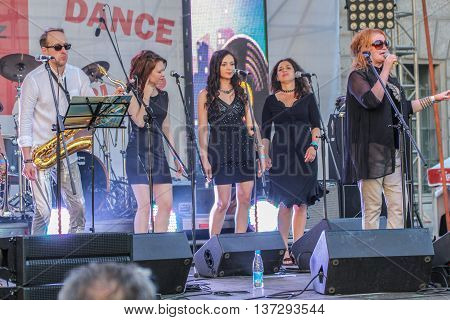 St. Petersburg, Russia - 2 July, Jazz band with Bey vocals, 2 July, 2016. Annual international festival of jazz and blues in St. Petersburg.