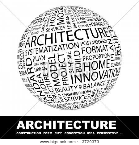 ARCHITECTURE. Globe with different association terms.