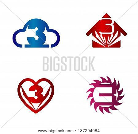 Number 3 logo. Vector logotype design set