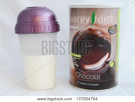 Irkutsk Russia - Sept 17 2015: Enegry diet coctail in the tin can and in the shaker. NLInternational goods