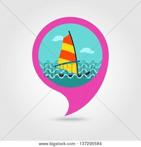 Board Windsurfing vector pin map icon. Beach Map pointer. Summer Map markers. Summertime. Vacation eps 10