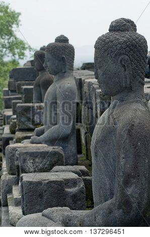 Statue Of The Buddha At Borobudur On Java In Indonesia