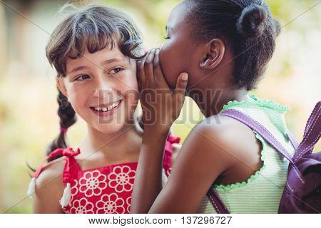 Girl telling a secret in the ear of her friend