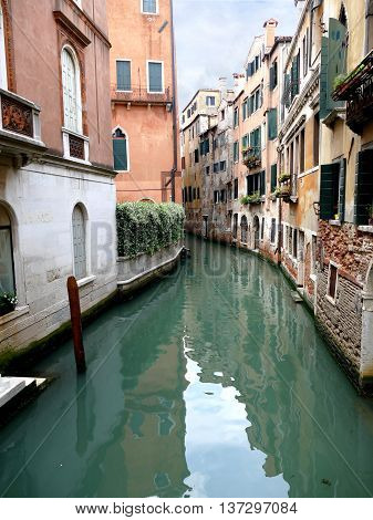 Canal Of Venice, Venezia, Italy, Europe On A Cloudy Day