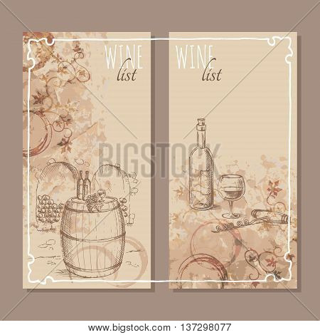 Wine list cards. Menu cards for wine collections with hand drawn sketches. Vector illustration.
