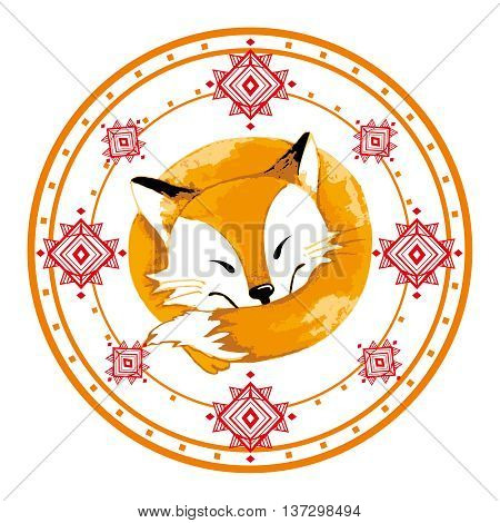 Illustration of fox in circle. Illustration depicts a sleeping cute red cartoon fox. Positive character.