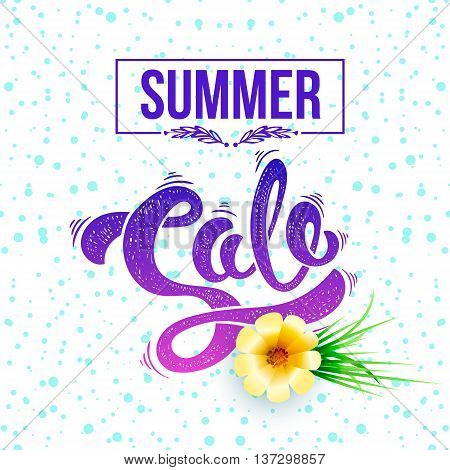 Summer sale. Vector hand drawn letters on a bright summer background EPS10