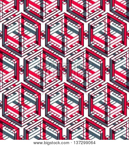 Bright symmetric seamless pattern with interweave figures. Continuous geometric composition with transparency effects for use in graphic design.