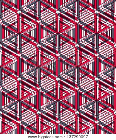Illusive continuous red pattern decorative abstract background with 3d geometric figures.