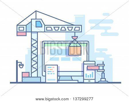 Web site development. Project site construct, development and build, line vector illustration