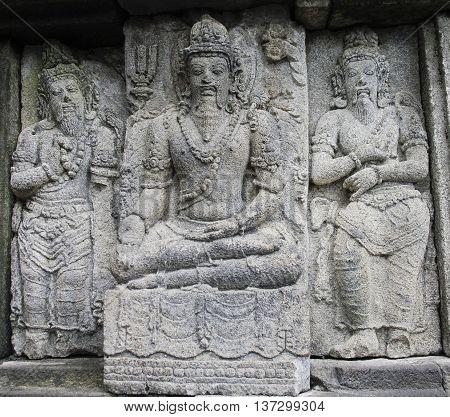 Bas-reliefs of Prambanan temple  at Java Indonesia