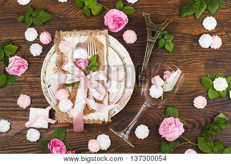 Tableware With Light Pink Roses And Meringues