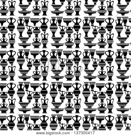 Set of Different Vases Isolated on White Background. Seamless Silhouettes of Amphora Pattern.