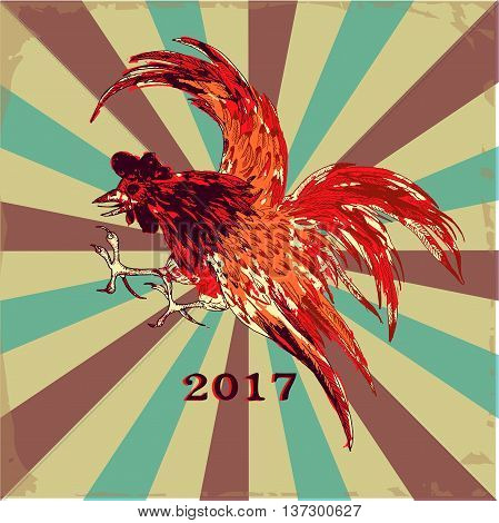2017 Happy New Year background with Rooster . Hand drawn vector illustration. 2017 is the year of Red Fire Chicken on Chinese zodiac. Can use them for greeting card, prints, calendar, poster.
