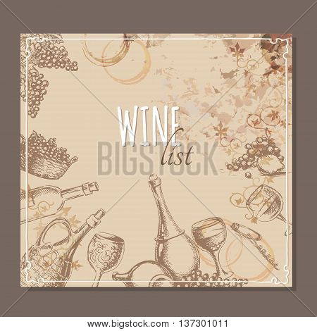 Wine list card. Menu card for wine collections with hand drawn sketches. Vector illustration.