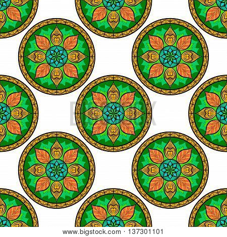Vector Seamless Color Floral Mandala Pattern. Seamless pattern for your designs, invitation card, yoga, meditation, astrology and other wrapped projects. Pattern in swatches panel.