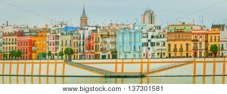 Seville panoramic cityscape with historical buildings, city skyline, Sevilla, Spain.