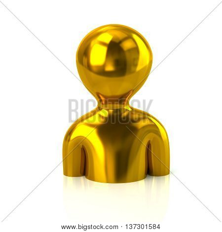3D Illustration Of Golden Profile Icon