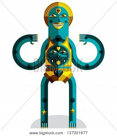 Cubism theme vector graphic illustration modernistic symbol. Geometric cartoon character mythic creature or shaman. Colorful drawing of pagan idol.