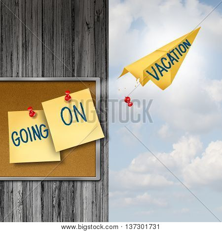 Going On Vacation concept as a rest and relaxation symbol with office notes on a thummb tack board with one office note transforming to a paper airplane as a travel and tourism metaphor with 3D illustration elements