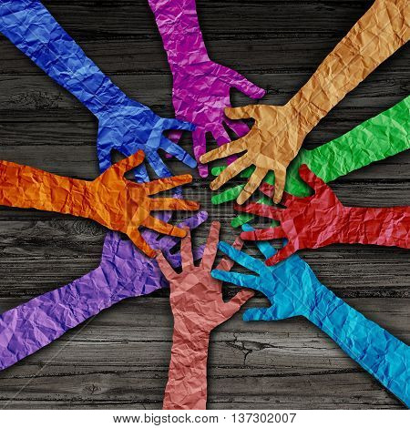 Diverse people team joining hands together as a partnership teamwork concept as a group of paper cut out hands as a diversity collaboration symbol in a 3D illustration style.